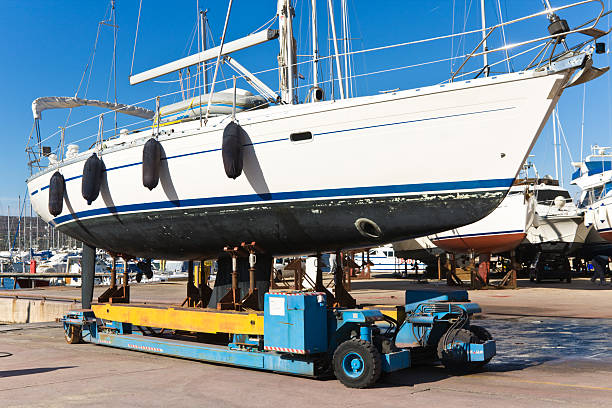 sailboat on its way to be maintained in San Antonio Texas