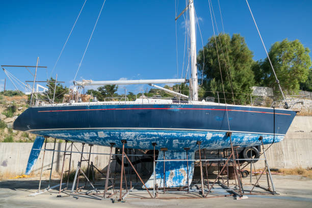 Old blue boat being restored in Texas