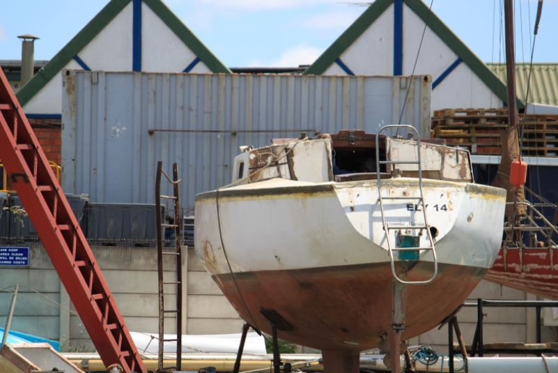 old boat on stand by for repair in san Antonio texas